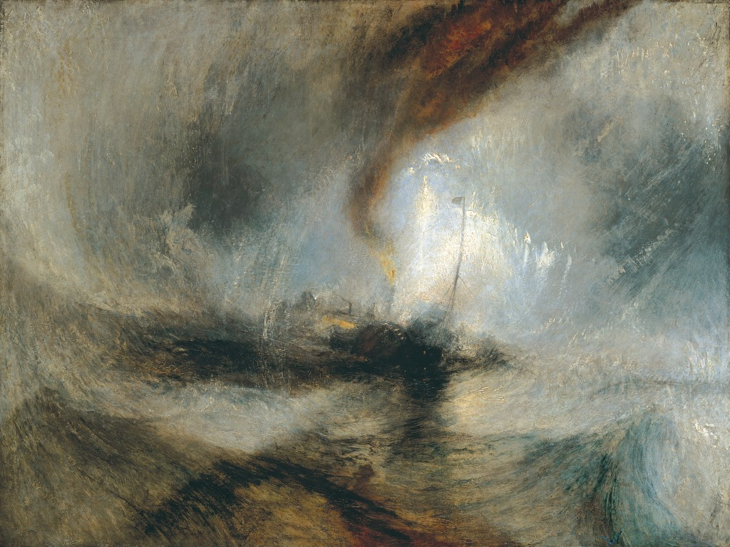 """""""Tempête de Neige"""" exposé en 1842 de J.W. Turner  Snow Storm - Steam-Boat off a  Harbour's Mouth making Signals in Shallow Water, and going by the Lead"""